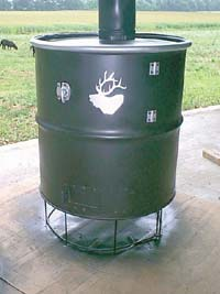 Stove from steel barrel