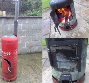 gas bottle wooden stove