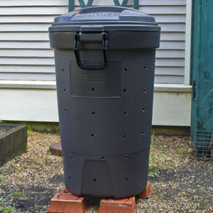 Rubber Trash Can Into The New Compost Bin