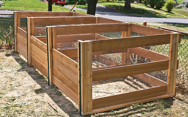 large 3-section compost bin