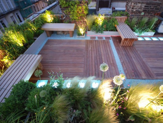 Lighted Ornamental Plants Based Rooftop Garden