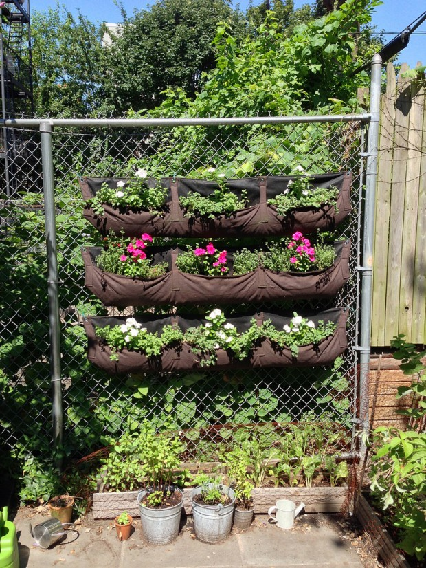 Pouched vertical garden system