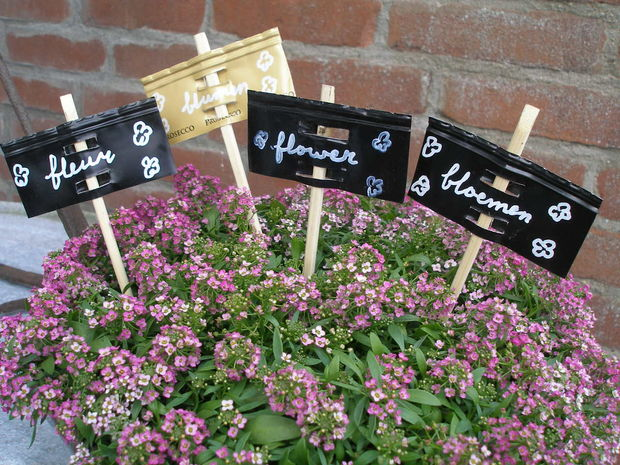 Wine bottle garden stakes