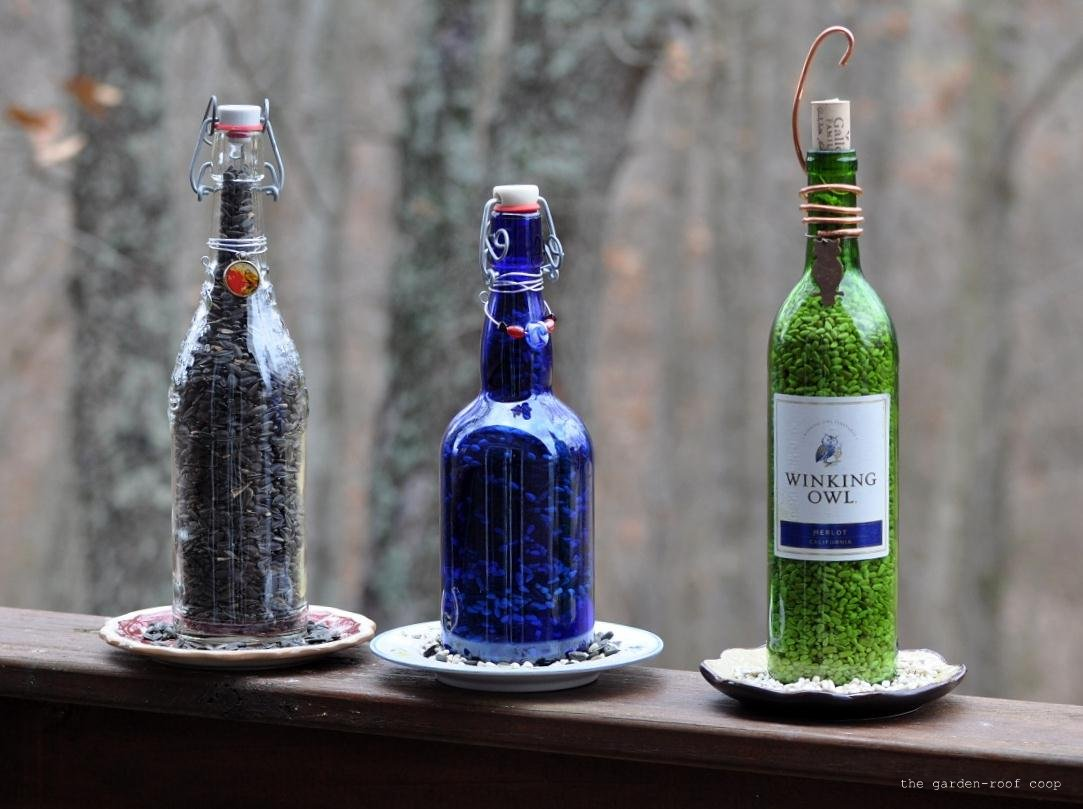 15 inspiring diy and homemade bird feeder plans and ideas for Making glasses from bottles