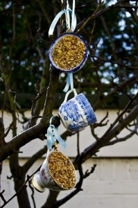 Vintage Teacup Bird-Feeders