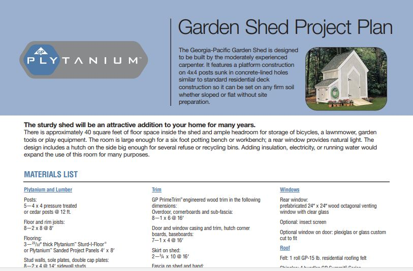 Garden Shed Project Plan