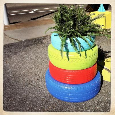 Stack of Tires as a Stand for Your Flower Pot
