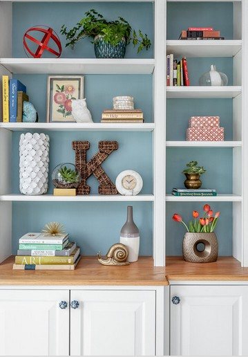painted back panel bookcase