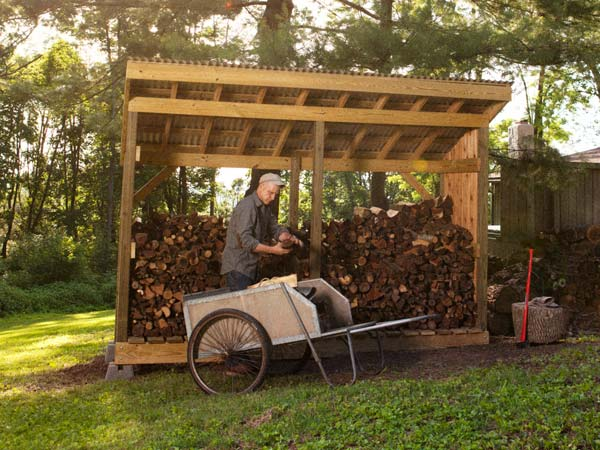 A simple large firewood open shed
