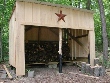three-sided large storage shed