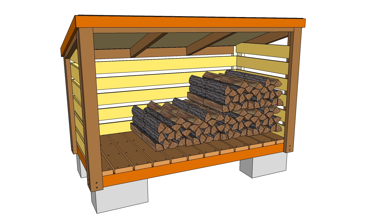 10 wood shed plans to keep firewood dry the self for Cordwood shed