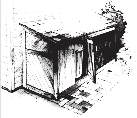 transh can & firewood storage shed