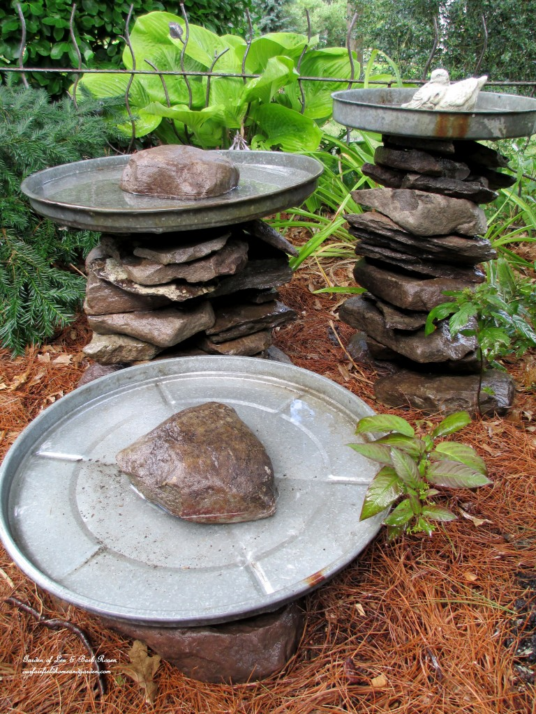 Deformed stones bird bath