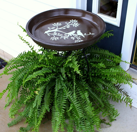 Plant Stand Bird Bath Idea