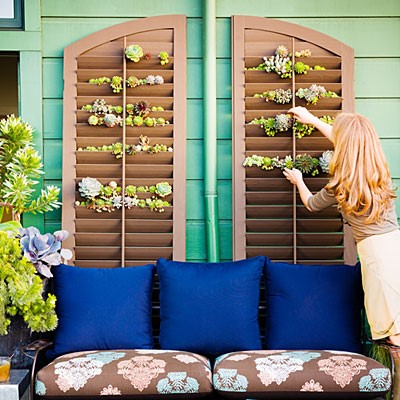 Salvaged Shutters Gardening Idea