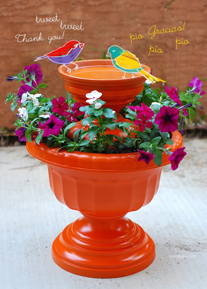 Two Tiered Flower Pot Bird Bath