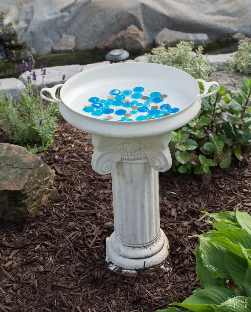 Thrift Shop Pan Bird Bath Idea