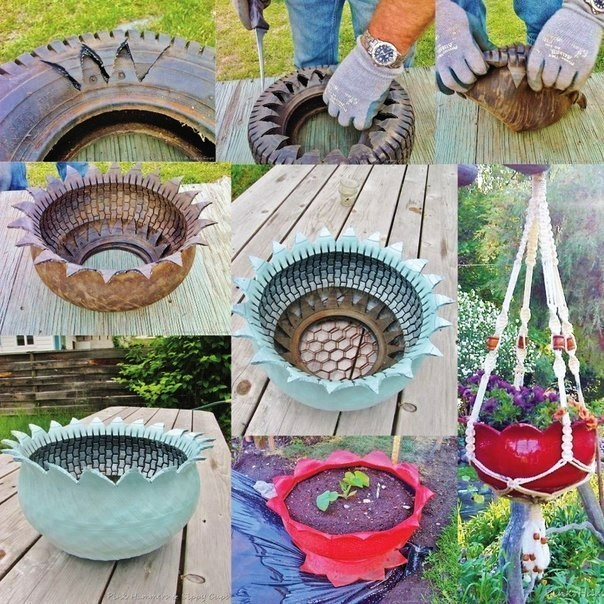 16 lovely diy hanging planter you can make easily the for Diy tire
