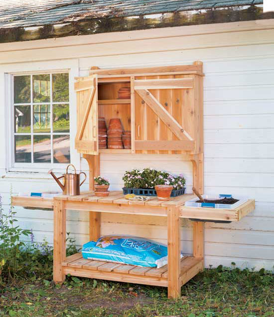 16 potting bench plans to make gardening work easy the for Garden potting bench designs