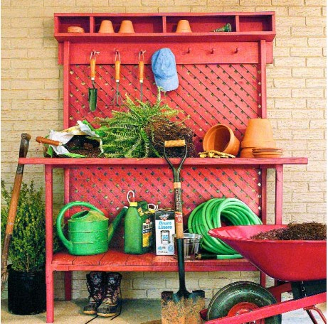 Red Lumber Potting Bench