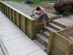 Post and Plank Retaining Wall