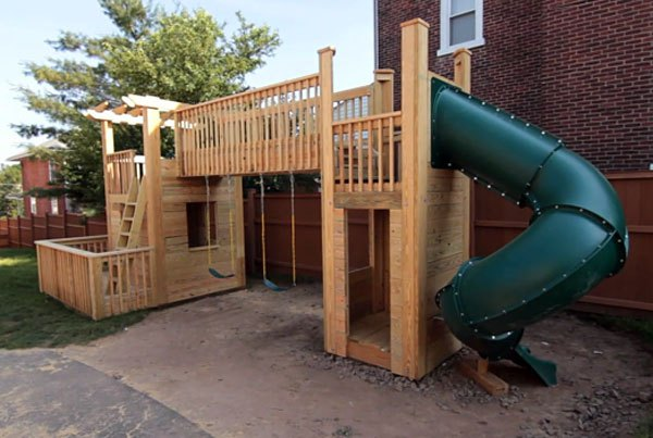 16 diy playhouses your kids will love to play in the for How to build a swing set for adults
