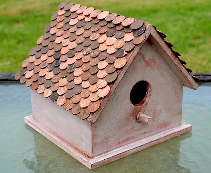 Birdhouse with a Pretty Penny Roof