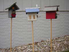 Birdhouses on Sticks - Yard Art
