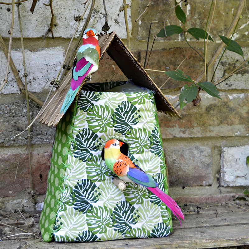 Gorgeous Tropical Fabric Birdhouse Decoration
