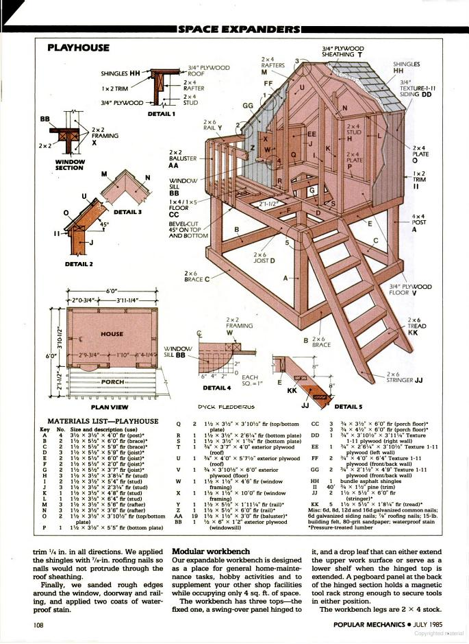 7 fabulous cubbyhouse plans for your kidz the self for Blueprints for playhouse