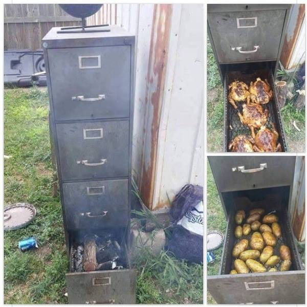Wood File Cabinet Smoker
