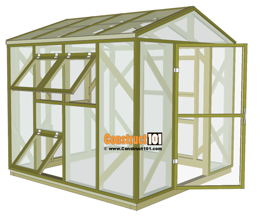 8x8 Wood Frame Greenhouse