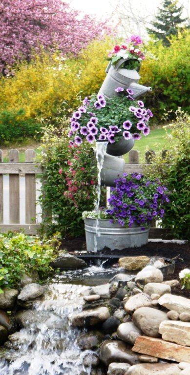 Galvanized Garden Tipsy Flower Pot Tower