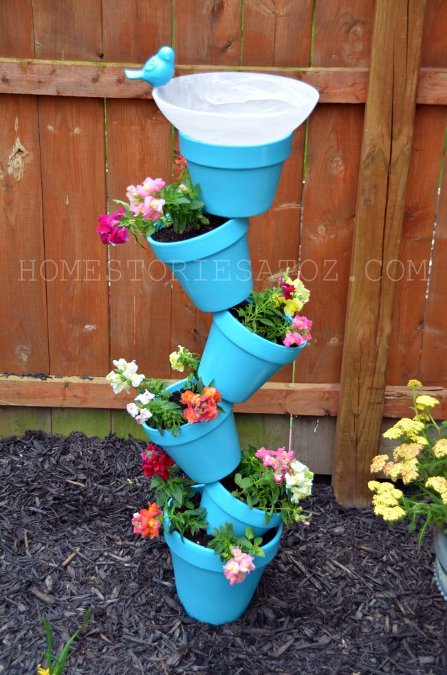 30 diy tower garden ideas to grow plants vertically the self planter bird bath combination workwithnaturefo