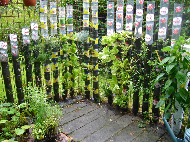 Recycled Bottle Tower Garden