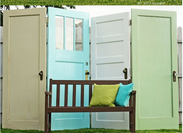 Recycled Doors DIY Privacy Screen