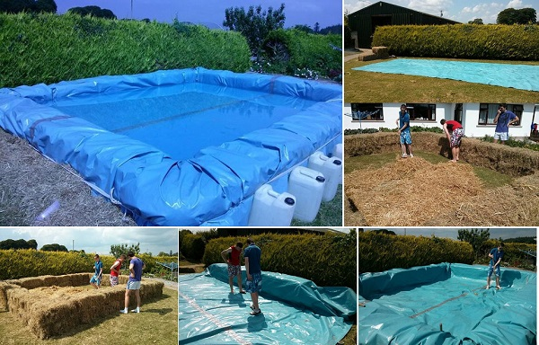 Hay Bale DIY Swimming Pool