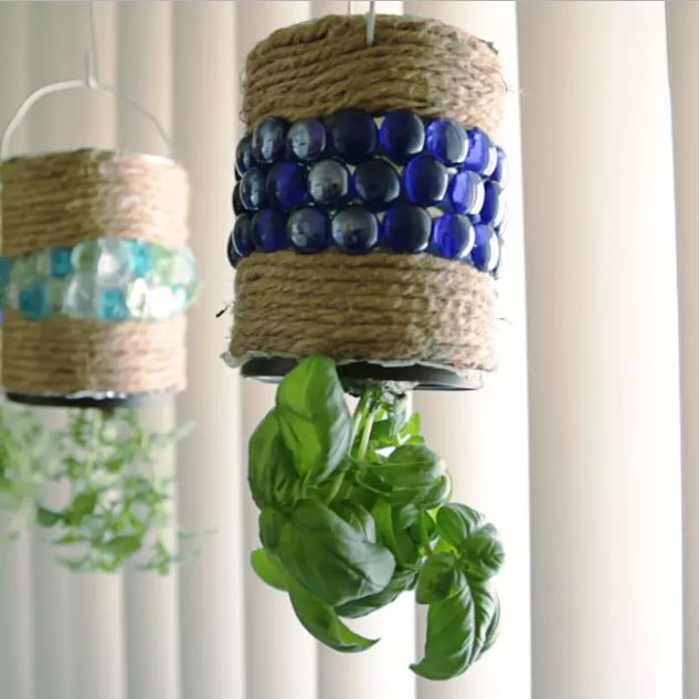 Hanging Coffee Can Herb Garden