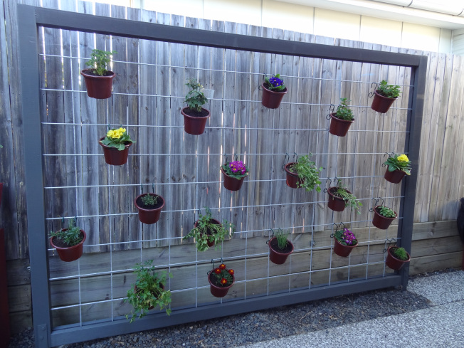 hanging herb garden with galvanized metal mesh - Hanging Herb Garden