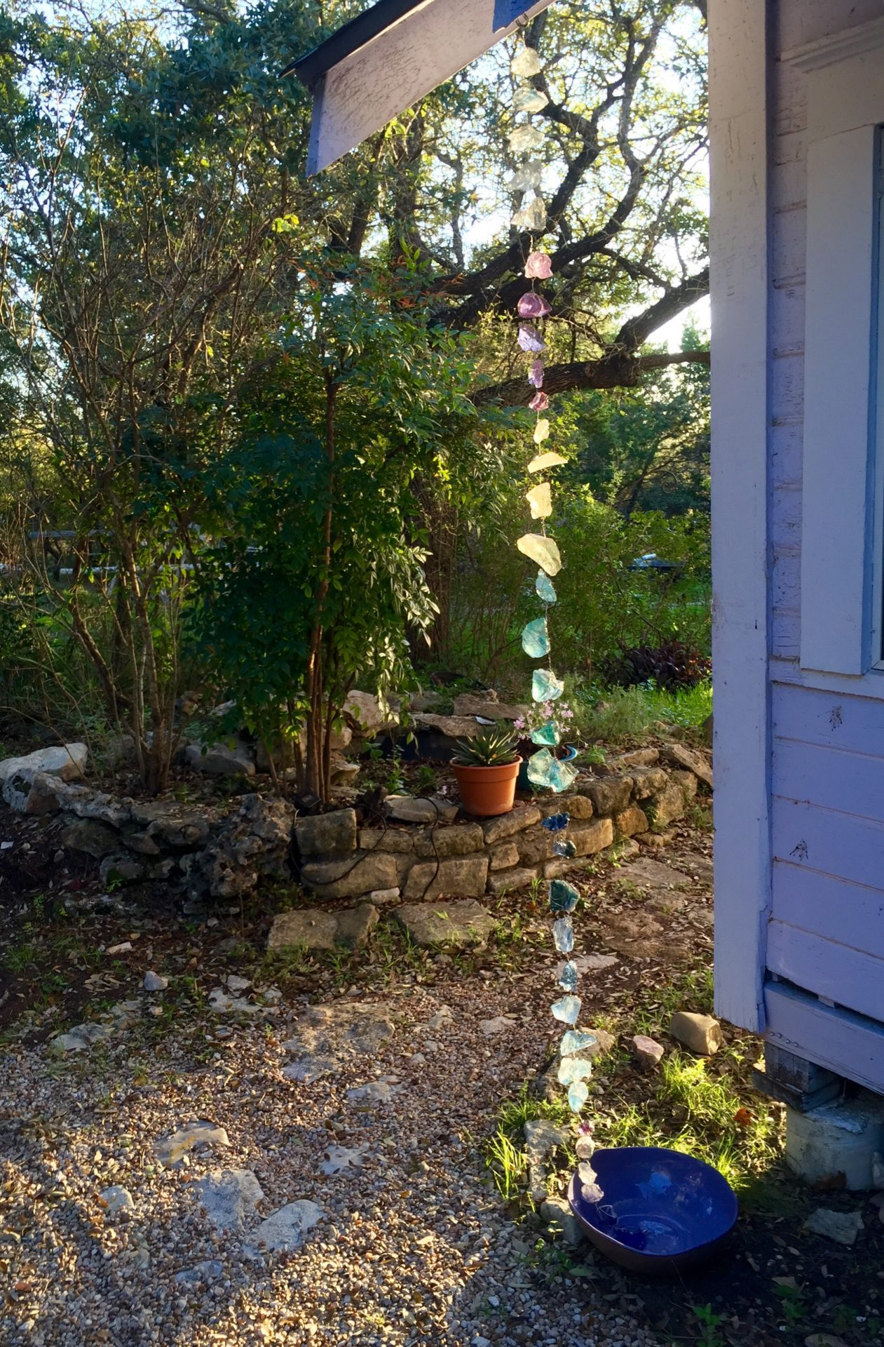DIY Slag Glass Rain Chain