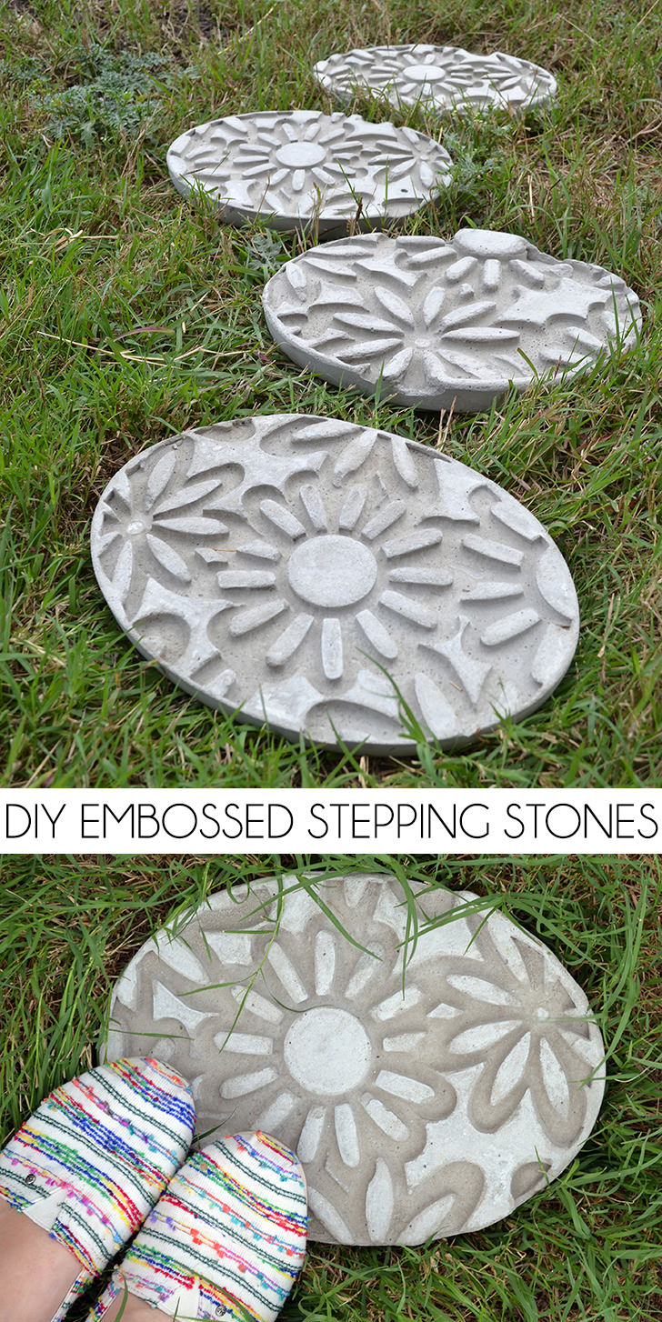 DIY Embossed Stepping Stones