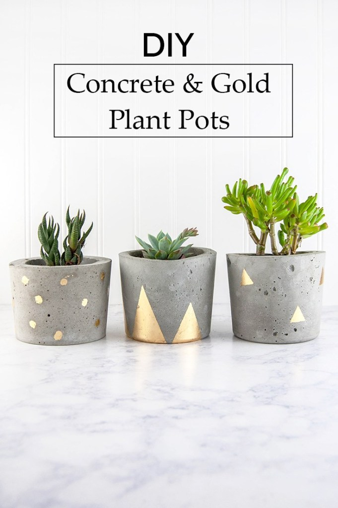 DIY Concrete and Gold Planters