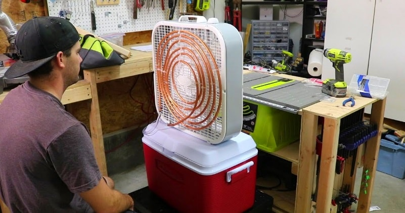 Air Conditioner With A Box Fan and Cooler