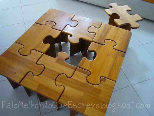 DIY Puzzle Coffee and Side Table