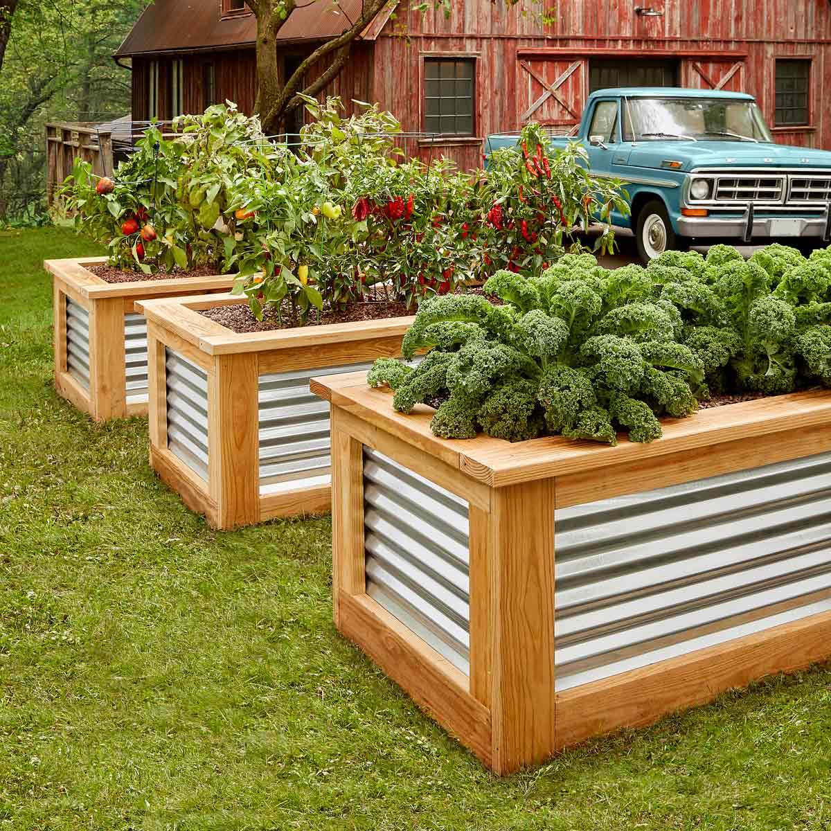 Wood and Metal DIY Raised Garden Bed