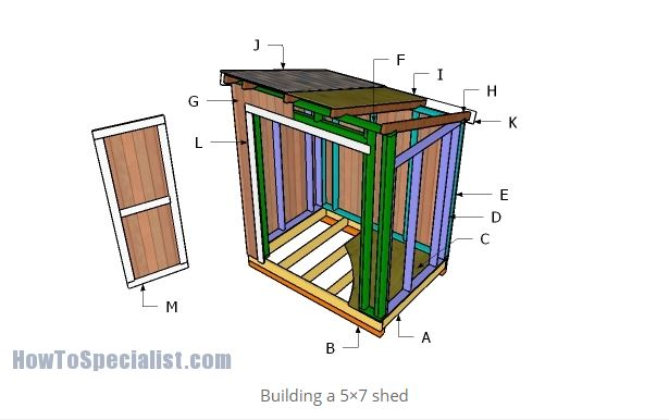 5'x7' Lean To Shed