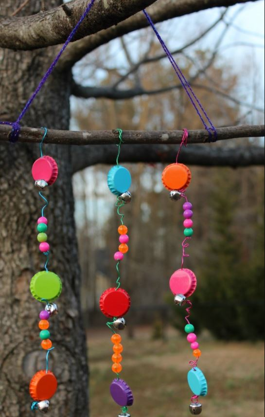 DIY Bottle Cap and Jingle Bell Wind Chimes