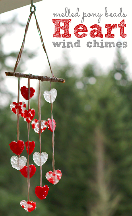 Melted Bead Heart-Shaped Wind Chimes