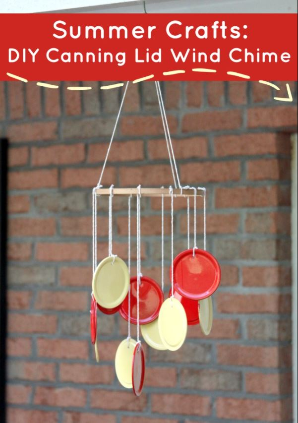 Painted Canning Lid Wind Chime